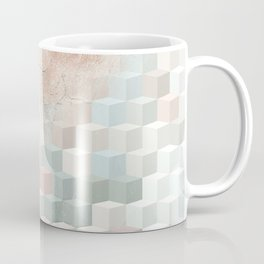 Distressed Cube Pattern - Nude, turquoise and seashell Coffee Mug