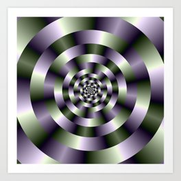 Concentric Circles in Green and Purple Art Print