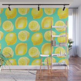 Watercolor lemons pattern Wall Mural
