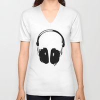 headphones V-neck T-shirts featuring HEADPHONES by by INK! - Sandie Dolleris Thomsen