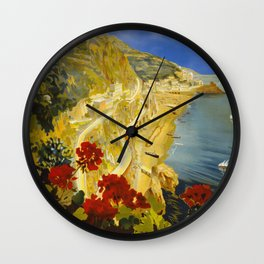 Vintage Amalfi Italy Travel Wall Clock