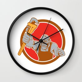 Angry Gorilla Plumber Monkey Wrench Circle Cartoon Wall Clock