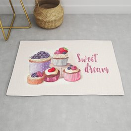 Sweet dream Cute cupcakes with berries Hand-drawn illustration Rug