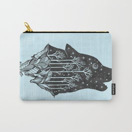 Adventure Wolf - Nature Mountains Wolves Howling Design Black on Turquoise Blue Carry-All Pouch