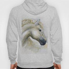 White Horse Watercolor Painting Animal Horses Hoody