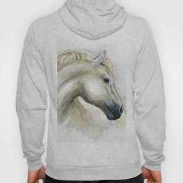 White Horse Watercolor Painting Animal Horses Hoody