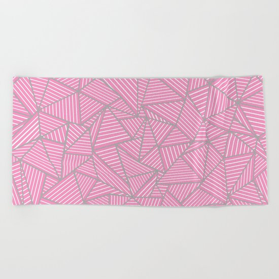 Ab Out Double Pink and Grey Beach Towel
