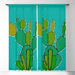 Green Cactus Blackout Curtain