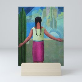 """""""The Northern Border of Mexico"""" - The Dreamers female Latina portrait painting by Angel Zarraga Mini Art Print"""