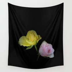 flowers on black - yellow and pink rosebud for curtains and homeproducts Wall Tapestry