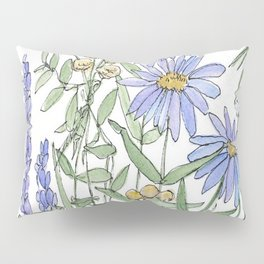 Asters and Wild Flowers Botanical Nature Floral Pillow Sham