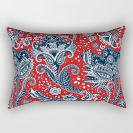 Red White & Blue Floral Paisley Rectangular Pillow