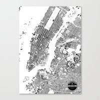 new york map Canvas Prints featuring New York Map by Maps Factory