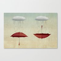 rain Canvas Prints featuring embracing the rain by Vin Zzep