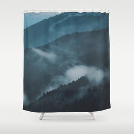 Layers of Mountain Valley Forest Fog Clouds Modern Landscape Shower Curtain