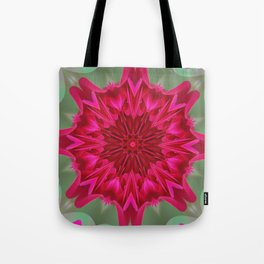 Fluid Nature - Pink Rose Mandala - Kaleidoscope Design Tote Bag