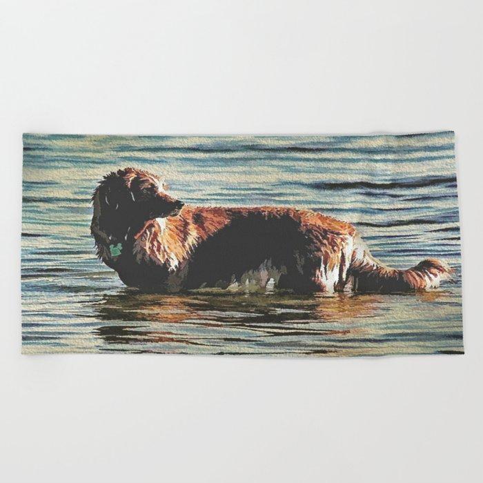 Dog Having Fun In The Water  Beach Towel
