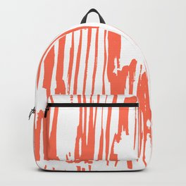 Bamboo Stripes White on Deep Coral Backpack