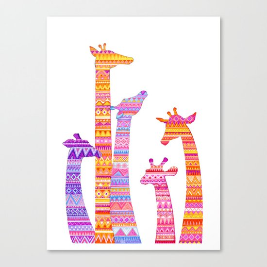 Giraffe Silhouettes in Colorful Tribal Print Canvas Print