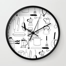 Kitchen essentials in black and white Wall Clock