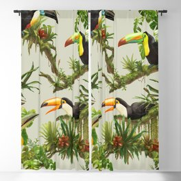 Toucans and Bromeliads (Canvas Background) Blackout Curtain