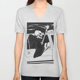 Passenger taxi grim - black and white - gothic reaper Unisex V-Neck