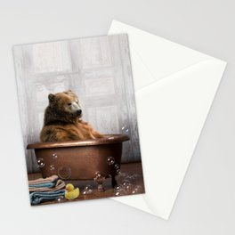 Bear with Rubber Ducky in Vintage Bathtub Stationery Cards