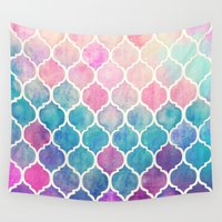 shapes Wall Tapestries featuring Rainbow Pastel Watercolor Moroccan Pattern by micklyn
