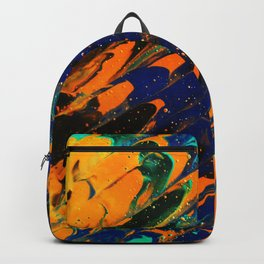 Fluid Acrylic Painting Multi Color Glitch Wave Effect Navy Blue Orange Cyan Backpack