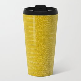 Yellow Alligator Leather Print Travel Mug