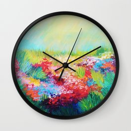 ETHERIAL DAYS - Stunning Floral Landscape Nature Wildflower Field Colorful Bright Floral Painting Wall Clock