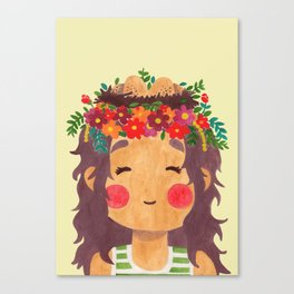 Bird Nest Girl in the Spring Season Canvas Print