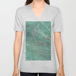 Mossy Woods Green Marble Unisex V-Neck