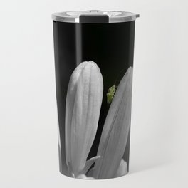 Green cricket on black and white lily Travel Mug