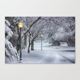 Street Lamp in the Snow Canvas Print