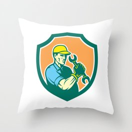 Mechanic Holding Spanner Wrench Shield Retro Throw Pillow