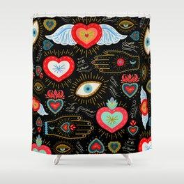 Milagro Love Hearts - Black Shower Curtain
