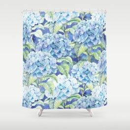 Botanical pink blue watercolor hortensia floral Shower Curtain