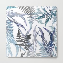 Lush Forest Ferns in Blue Metal Print