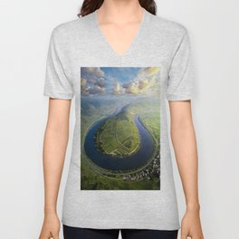 Incredible Mosel River Bend in Germany Unisex V-Neck