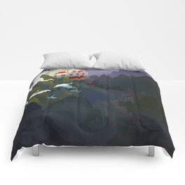 City by the river Comforters