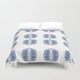 TROPICAL PALMS . WHITE + BLUE Duvet Cover