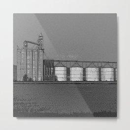 Black & White Grain Silos Pencil Drawing Photo Metal Print