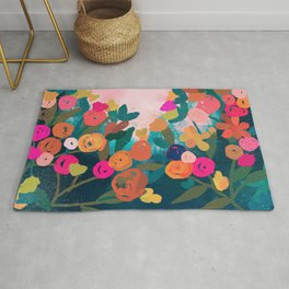 Abstract florals- pink and teal blue Rug