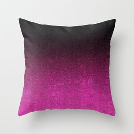 Pink & Black Glitter Gradient Throw Pillow