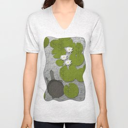 Water lilies with Florida Soft-shell Turtle Unisex V-Neck