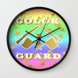 Color Guard Rainbow and Gold Stars Design Wall Clock
