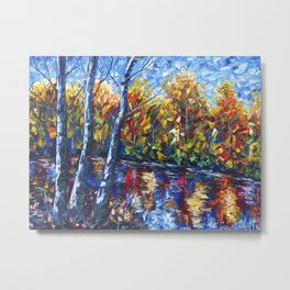 Dreaming Forest with Palette Knife Metal Print