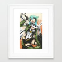 sword art online Framed Art Prints featuring Sinon from Sword Art Online season II by TheEmpa