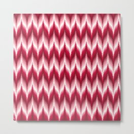 Bargello Pattern in Red and White Metal Print
